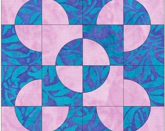 Drunkard's Path Variation Block Paper Templates Quilting Block Pattern PDF