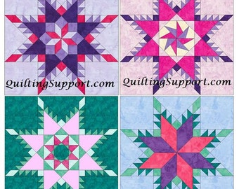 Feathered Star Set of 4 Paper Piece Template Quilting Block Patterns Set 1 PDF