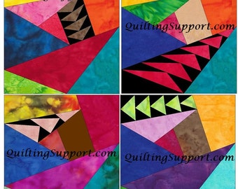 Crazy Geese Set 1 Paper Foundation Piecing Quilting 4 Block Patterns PDF