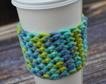 Coffee Cup Sleeve- Reusable- Blue- Green