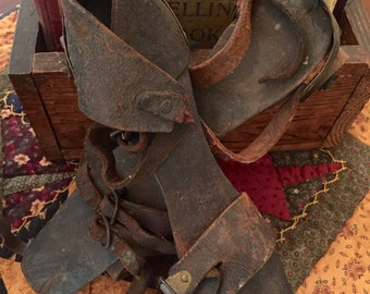 WOODEN ROLLER SKATES / Antique skates / Wood skates with wooden wheels & tattered leather strappings
