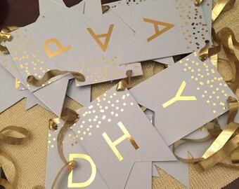 Gold FOIL confetti Birthday Banner