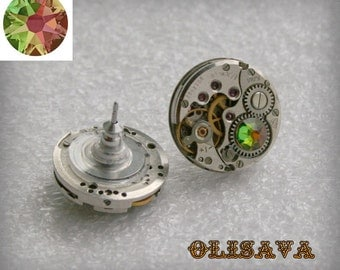 Steampunk Stud Earrings  Mechanical Watch Movement , Crystal Vitrail Medium   Swarovski crystals ,Steampunk Earrings , Clockwork  earrings