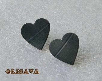 Vinyl record earrings , Vinyl record jewelry ,  recycled jewelry  earrings , Heart  earrings