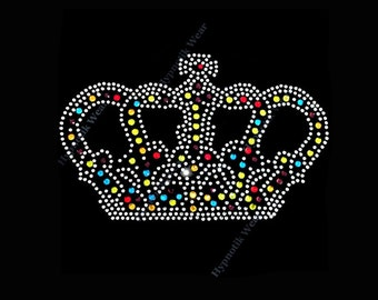 "Rhinestone Transfer ""Multi Colored Crown "" Hotfix, Iron On, Bling, Queen"