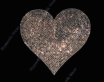 """Rhinestone Transfer """"Any color of your choice Heart"""" Valentine, Hot Fix, Iron On, Bling, Love"""
