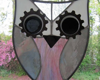 """Aimee Owl:  Stained Glass Panel / Suncatcher with Fused Glass and Rusty Metal Accents (approx 8"""" x 10"""")"""
