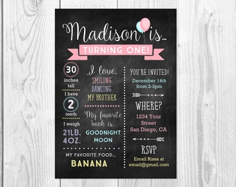 Baby's First Birthday Invitation with chalkboard background - PRINTABLE first birthday invitation / 5x7 printable card / you pick colors!