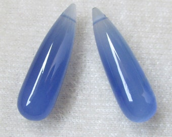 28x8 mm BLUE CHALCEDONY smooth drops Gemstone..... with side drilled Hole (0.80 mm )