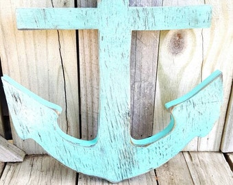 Anchor, distressed boat anchor,  wooden door hanging, wall decor, Lake home, wall hanging, home decor