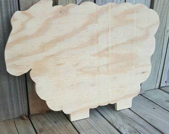 Unfinished Wooden Sheep sign Unfinshed Sign