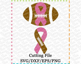 EXCLUSIVE SVG eps  DXF Cutting File Football Awareness Ribbon svg, awareness ribbon svg, football svg support ribbon svg, awareness ribbon