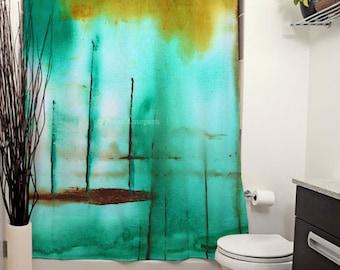 Piers Printed Shower Curtain, Bathroom Decor, Home Decor, Abstract Art, Modern Art, Green Painting, Green Decor, Watercolors, Teal, Art