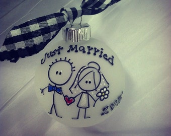 Personalized Newlyweds Just Married  WEDDING Christmas Ornament