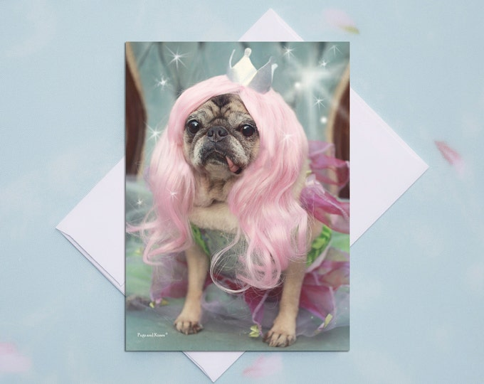 5x7 ENCOURAGEMENT CARD Fairy Pug Pug Greeting Card by Pugs and Kisses