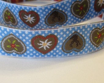 Woven Ribbon Alpenliebe blue width 16 mm