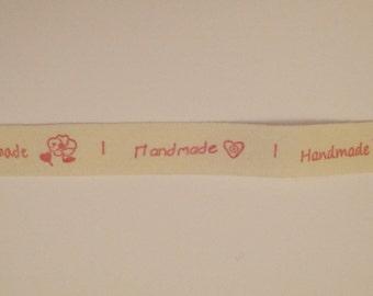 "Printed Ribbon - ""hand made"" - width 15 mm"