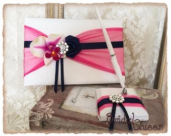 Fuchsia Wedding Guest Book, Wedding Guest Book, Fuchsia Guest Book, Pen Holder with Pen, Guest Book Set, Orchid Wedding