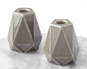 Ceramic gift  Pair of gray geometric pentagon candlesticks, Modern Judaica, ceramic shabbat candle holders, holiday gift, Made in Israel