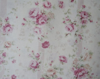 "Fat Quarter of Quilt Gate Beautiful Pink Roses Stripe Fabric on Cream Background (Wallpaper print). Approx. 18"" x 22"" Made in Japan."