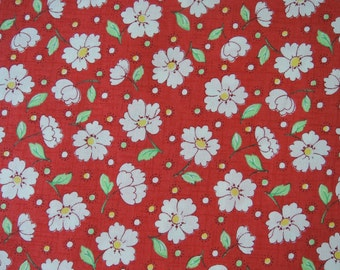 """Fat Quarter of 2015 Lecien Retro 30's Daisies Fabric in Red. Approx. 18"""" x22"""" Made in Japan"""
