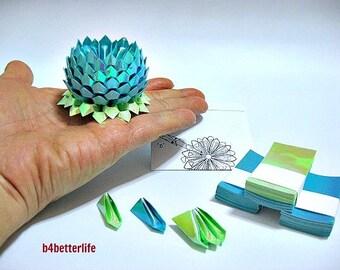 A Small Size Light Blue Origami Lotus plus 300 sheets of Paper Folding Kit. (AV Paper Series).