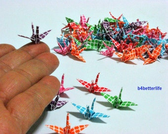 100pcs Assorted Colors Origami Cranes Hand-folded From 3.2 x 3.2cm Square Paper. #MD110a.  (MD paper series).