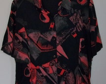 Vintage 1980's Short Sleeve  Button Down With Shoulder Pads and Zipper Geometric Design
