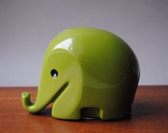 1960s * Size M * Vintage 1980s * Design DRUMBO Elephant Savings Box with key * glossy Olive Green * medium * Dresdner Bank * Luigi Colani