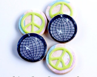 Half Dz. Disco Cookies! Disco, Peace, Parties, 70's, 80's, Favors and more!