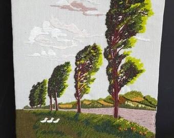 Crewel Picture Trees Ducks