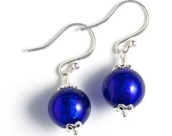 Cobalt Blue Murano Earrings, Murano Bead Earrings, Royal Blue Beaded Earrings, Venetian Glass Earrings, Sterling Silver Murano Earrings