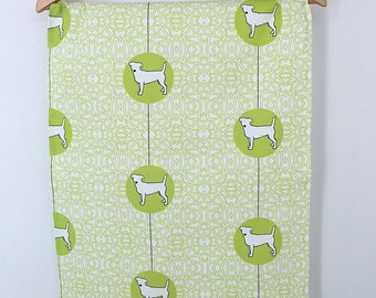Jack Russell Terrier Dog Breed Tea Towel, JRT dog dish cloth, kitchen gift - in Green and White