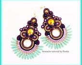 SALE - 50 %! Soutache TUTORIAL ONLY! Step by step pdf pattern in English. Soutache earrings tutorial.