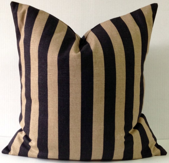 Black and Tan Striped Pillow Cover Pillows Pillowcase