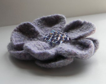 Misty Purple Flower Pin with opalescent Czech glass beads wool felted crochet handmade for coat, hat, or tote--4 1/2 in.