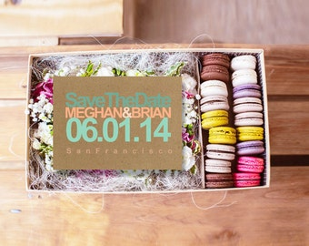 Kraft Save The Date Cards / Coral Peach & Mint Green Wedding / Retro Style / Modern Weddings / PRINTED Save-The-Date Card