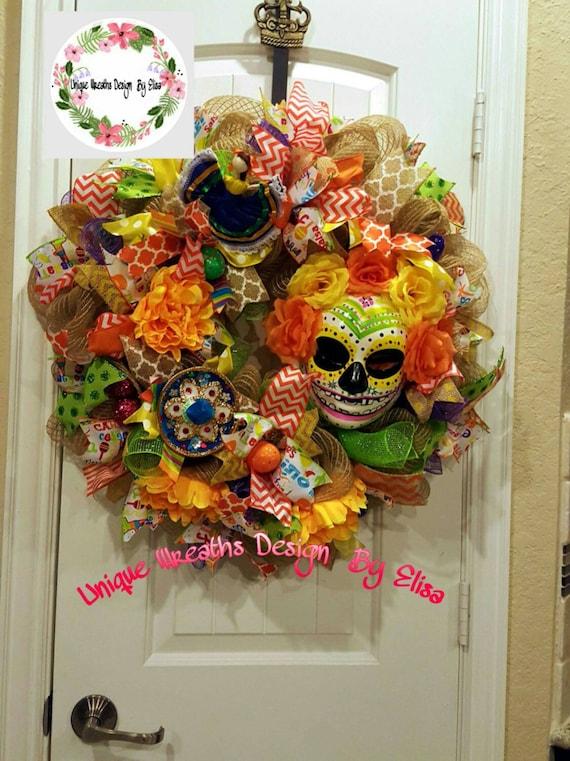 Dia De Los Muertos Wreath Sugar Skull by UniqueWreathDesign