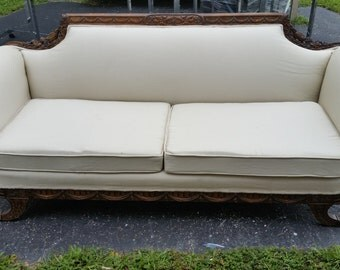 Antique settee--white reupholstered