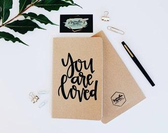 You Are Loved - Moleskine Kraft Journal, Hand-lettered, Modern Calligraphy, Prayer Journal