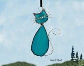 Stained glass cat suncatcher - name MADAME  - opaque turquoise glass - stained glass hanging - cat glass - cat family - beautiful cat
