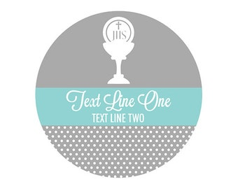 Chalice and Host Label 24ct - Baptism Party Label - Christening Personalized Label - First Communion Sticker - Party Label (6001R)