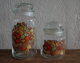 Vintage 70s Glass Storage Jars With Flowers, Nuts, and Berries Design