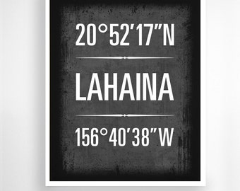 "Lahaina, Hawaii - Geographic Coordinate Print,  8"" x 10"" or 11"" x14"""
