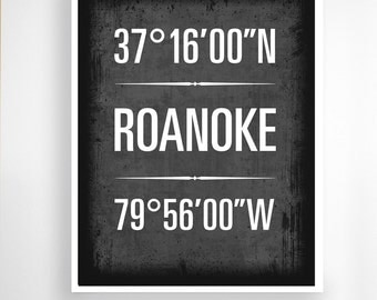 "Roanoke, Virginia - Geographic Coordinate Print,  8"" x 10"" or 11"" x14"""