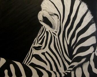 "Zebra Painting, Zebra, Original Oil Painting, Large - Zebra Curl (48"" x 48"")"