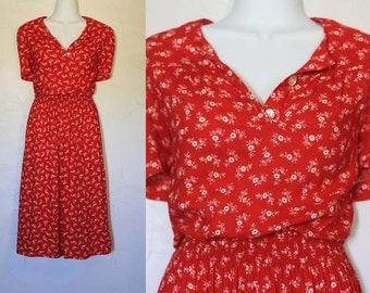 Vintage 1980s Red Floral Sundress