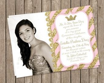 Quinceañera invitation. Pink white glitter gold Quinceañera invitation