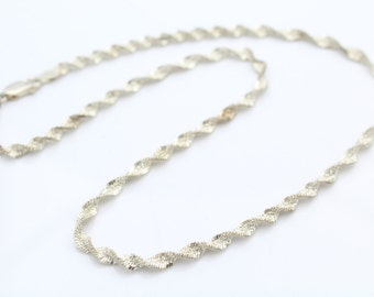 """Fancy Sterling Silver Twisted Ribbon Chain 16"""". [6598]"""