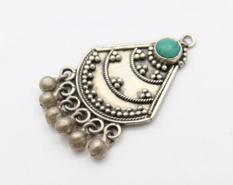 Artisan Tribal Pendant With Green Turquoise and Bead Fringe in Sterling Silver. [10383]